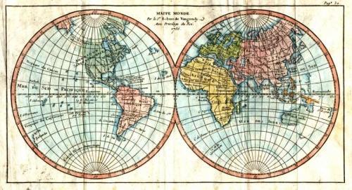 SOLD Mappe Monde, Amerique Septentrionale, Amerique Meridionale, L'Europe, Asie, Afrique.