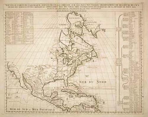 SOLD Nouvelle Carte de l' Amerique Septentrionale dressee sur les plu