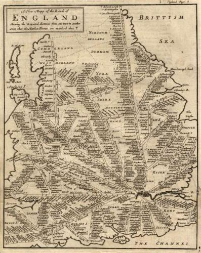 SOLD A New Mapp of the Roads of England shewing the Reputed Distances from One Town to Another