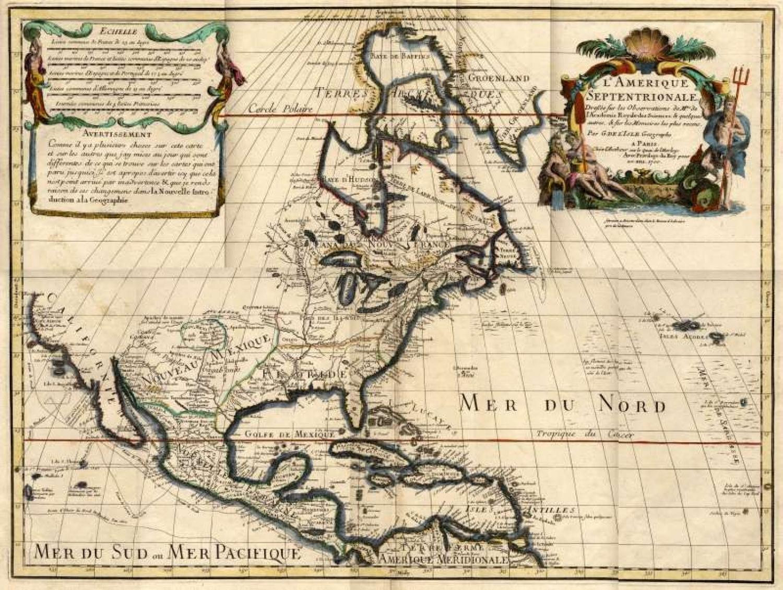 SOLD L'Amerique Septentrionale. Dresse Sur Les Observations