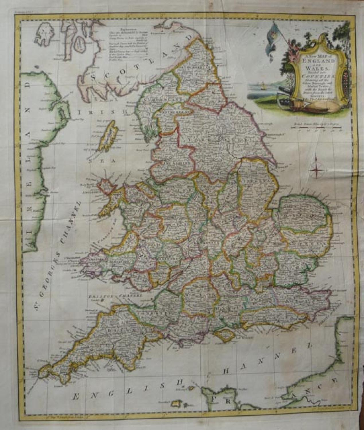 SOLD A New Map of England and Wales, divided into Counties: shewing all the Cities, Borough and Market Towns, with the