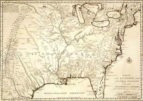 SOLD Karte von Luisiana, dem Laufe des Mississipi und den Benachbarten Laendern
