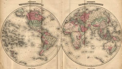 SOLD Johnson Map: World in Hemispheres