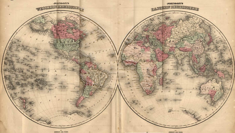 SOLD Johnson Map: World in Hemispheres