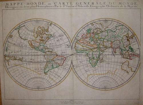 SOLD Mappe-Monde, ou Carte Generale Du Monde Dessignee en deux plan - Hemispheres