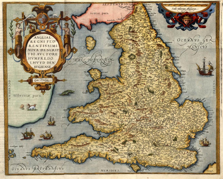 SOLD Angliae Regni flo: rentissimi nova descriptio, auctore Humfredo Lhuyd den bygiense 1573
