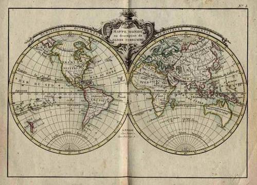 SOLD (Set of Six) Mappe Monde ou Description du Globe Terrestre