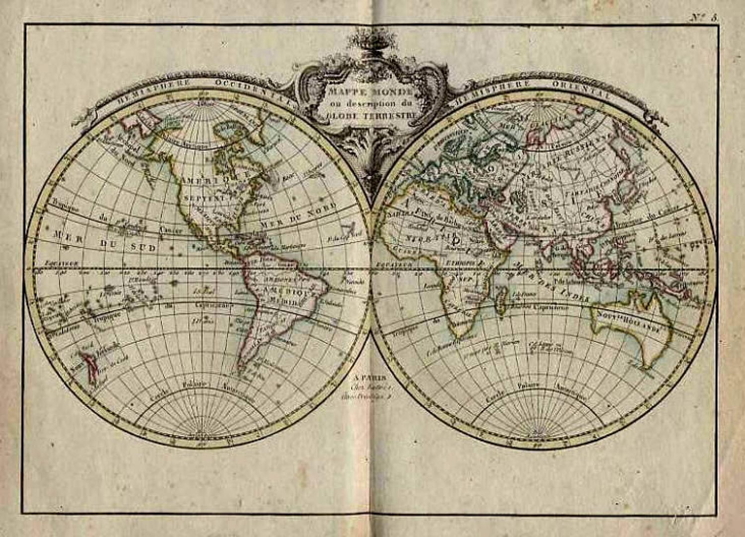 SOLD (Set of Six) Mappe Monde ou Description du Globe Terrestre