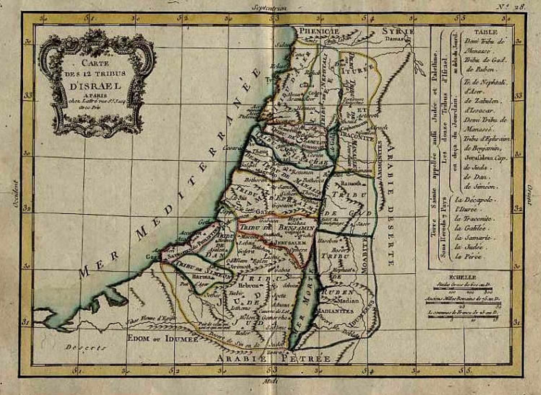 SOLD Carte des 12 Tribus D'Israel