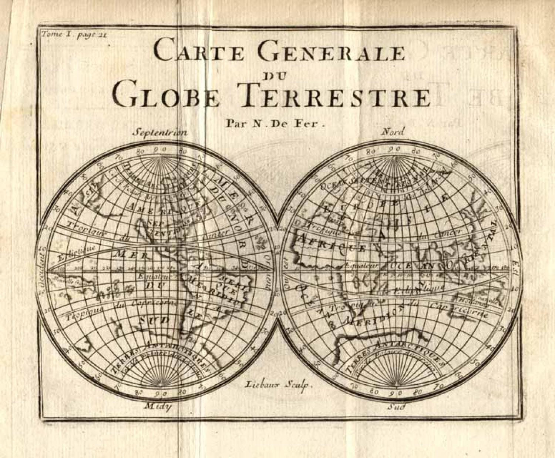 SOLD (Set of Six) Carte Generale du Globe Terrestre, Amerique Septentrionale, Amerique Meridionale, L'Afrique, Asie, L'Euro