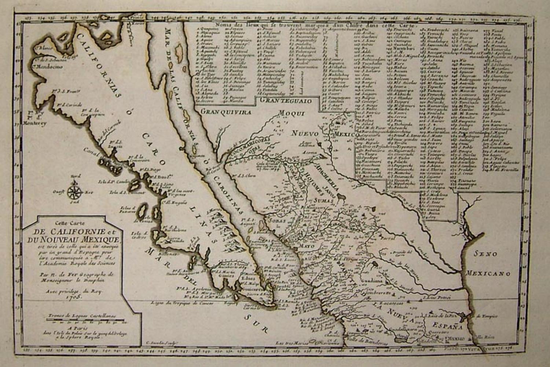 SOLD Cette Carte de Californie et du Nouveau Mexique (plus a page of text).