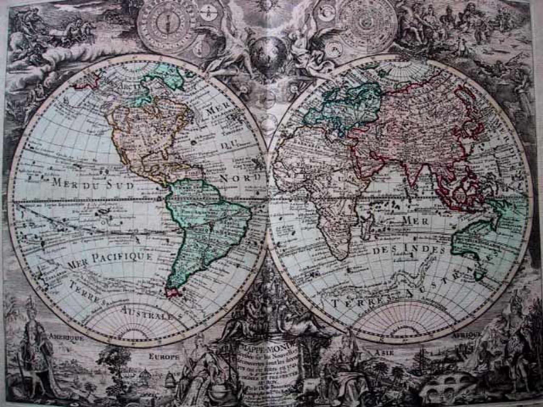SOLD Mappe Monde, L'Amerique, L'Afrique, L'Asie, L'Europe.