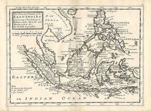 SOLD The Principal Islands of the East-Indies. Explaining what belongs to England, Spain and Holland..