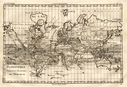 SOLD Planisphere suivant la projection de Mercator