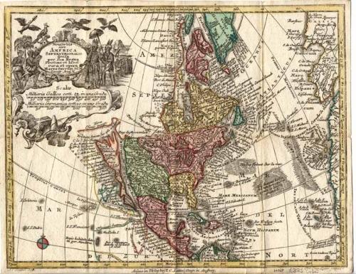 Seutter - Americas, Europa, Africa, Asia