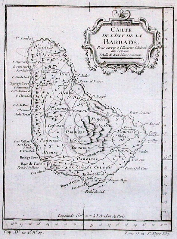 SOLD Carte De L'Isle de la Barbade..