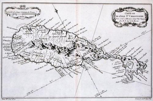 SOLD Carte De L'Isle de St. Christophe...