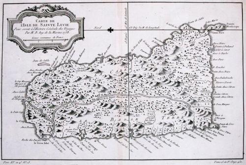 SOLD Carte De L'Isle de Sainte Lucie..