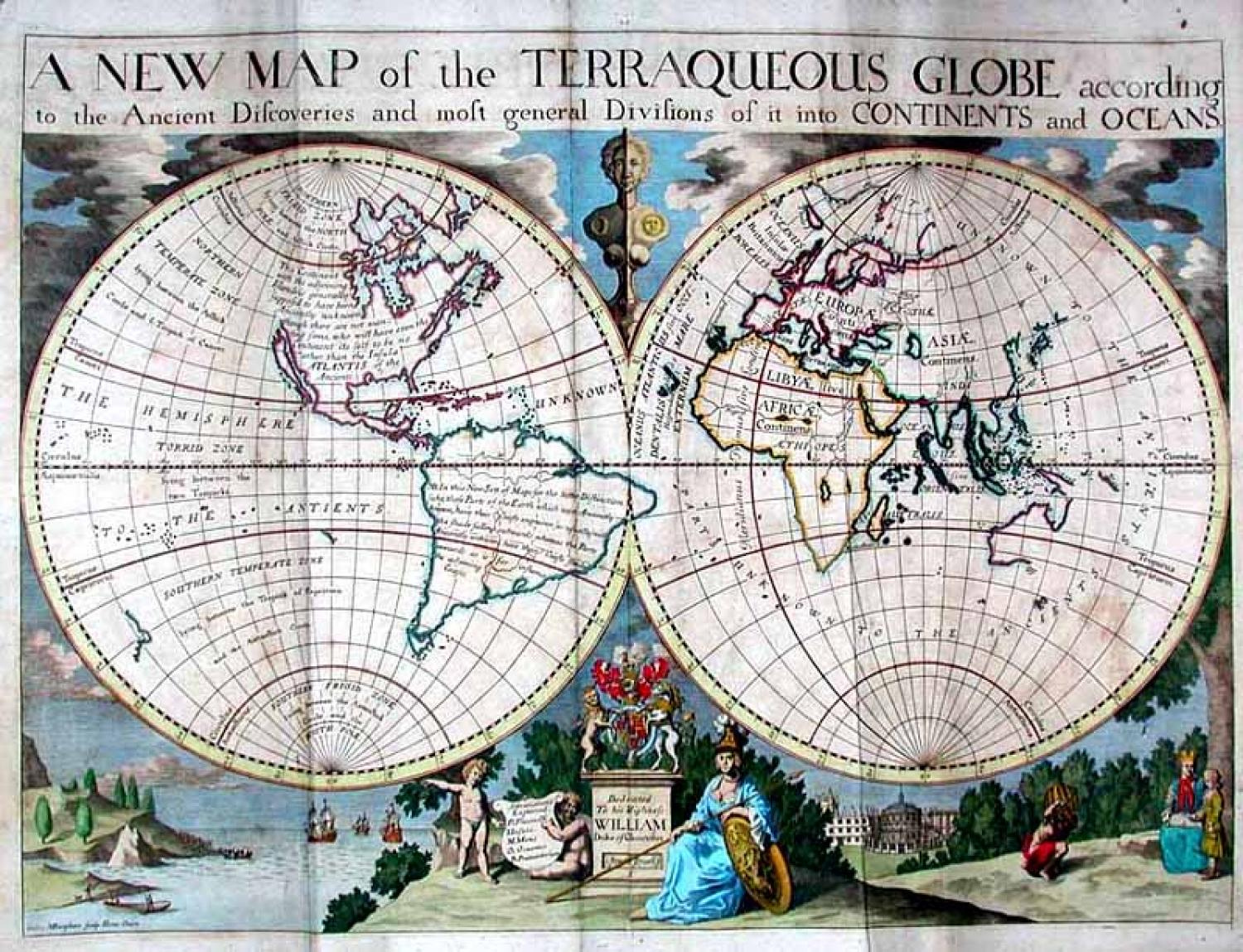 SOLD A New Map of the Terraqueous Globe According to the Ancient Discoveries...