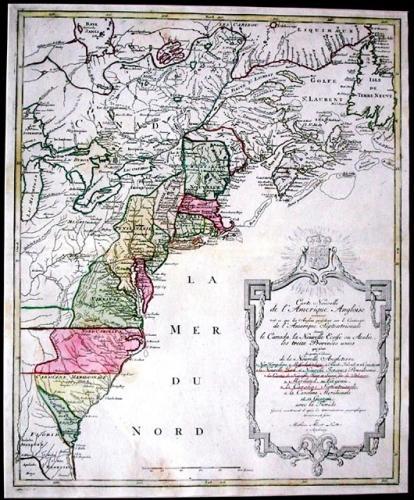 SOLD Carte Nouvelle de l'Amerique Angloise....