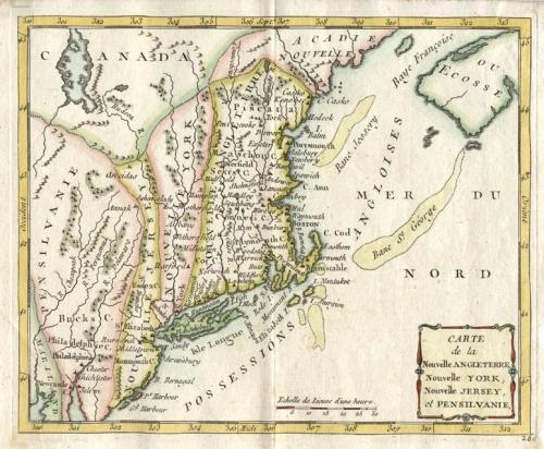 SOLD Carte de la Nouvelle Angleterre
