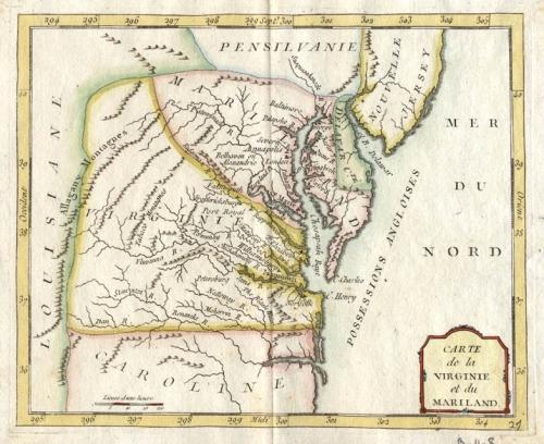 SOLD Carte de la Virginie et du Mariland