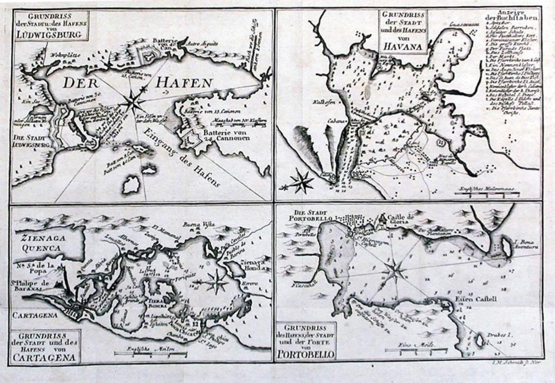 SOLD Grundriss der stadt und des hafens von: Ludwigsburg, Havana, Cartagena, Portobello.