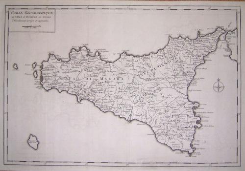 SOLD Carte Geographique de l'Isle et Royaume de Sicile