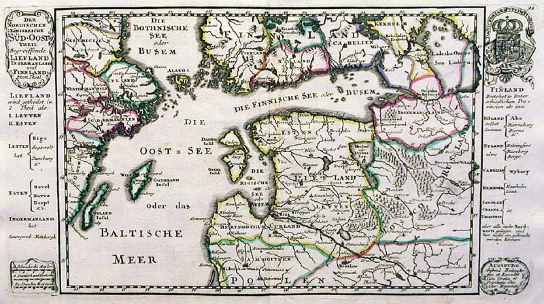 SOLD Der Nordischen Konigreiche Sud-oost Theil begreiffende Liefland, Ingermanland und Finnland