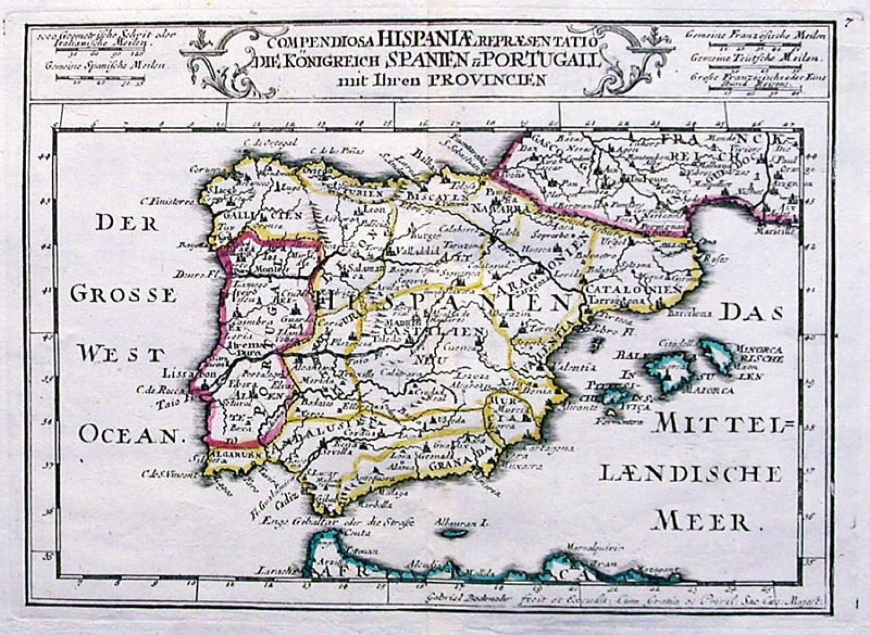 SOLD Compendiosa Hispaniae Repraesentatio. Die Konigreich Spanien u Portugail mit ihren Provincien