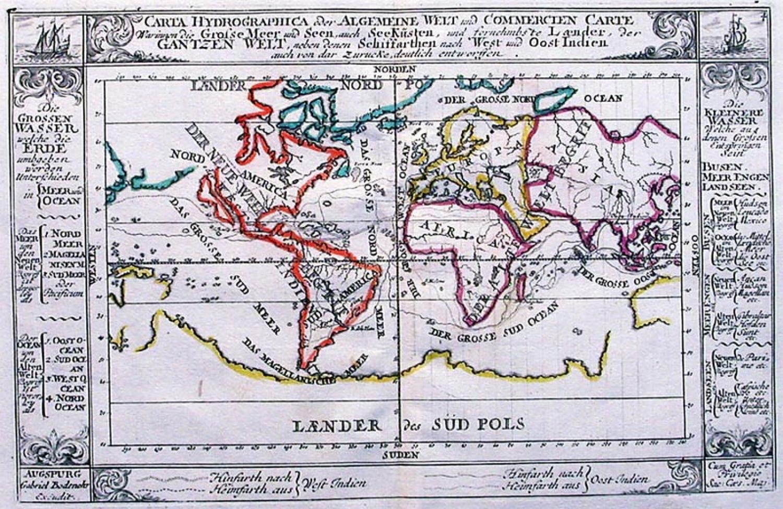 SOLD Carta Hydrographica oder algemeine Welt und Commercien Carte