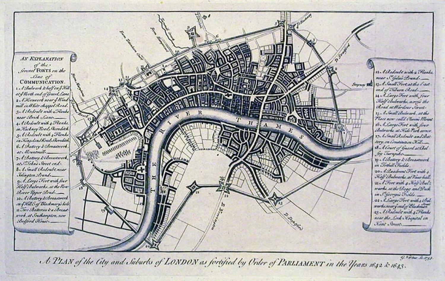SOLD A plan of the City and suburbs of London as fortified by order of Parliament in the years 1642 & 1643
