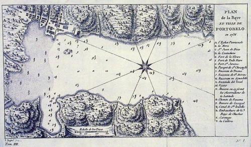 SOLD Plan de la Baye et Ville de Portobello en 1736