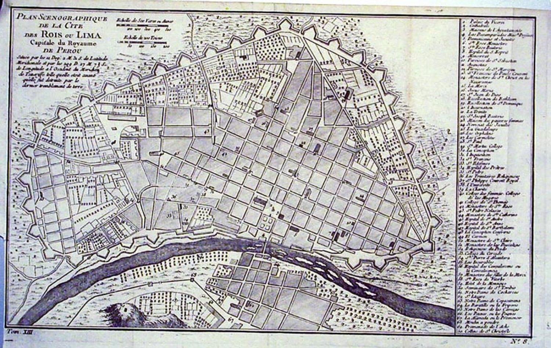 SOLD Title: Plan Scenographique de la Cote des Rois ou Lima, Capitale du Royaume de Perou
