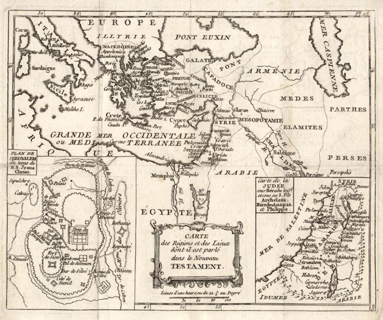 SOLD Carte des regions et des lieux dont il est parle dans le nouveau Testament