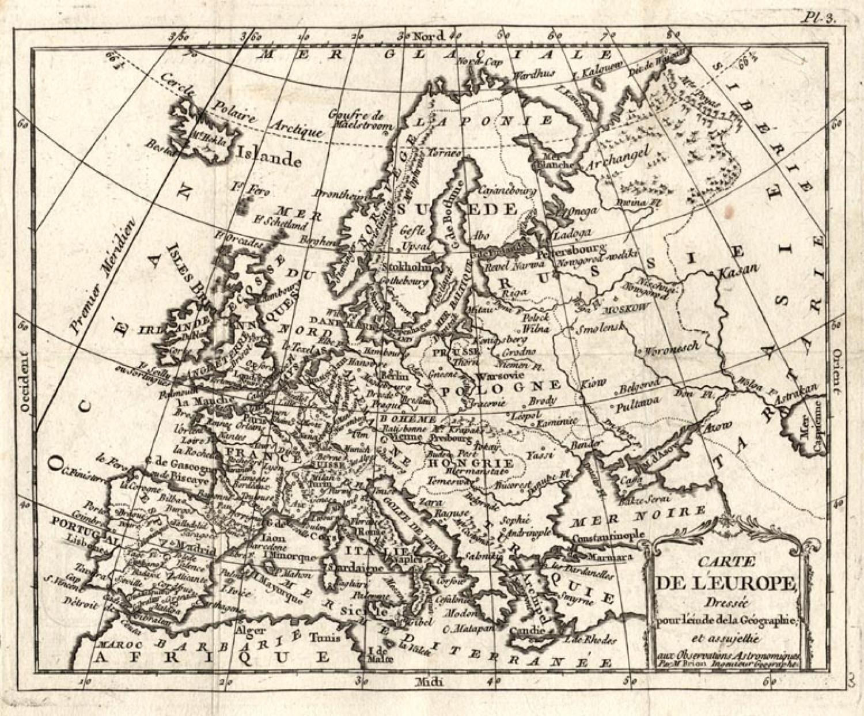SOLD Carte de l'Europe dressee pour l'etude de la geographie et assujettie aux observations astronomiques per M Brion .