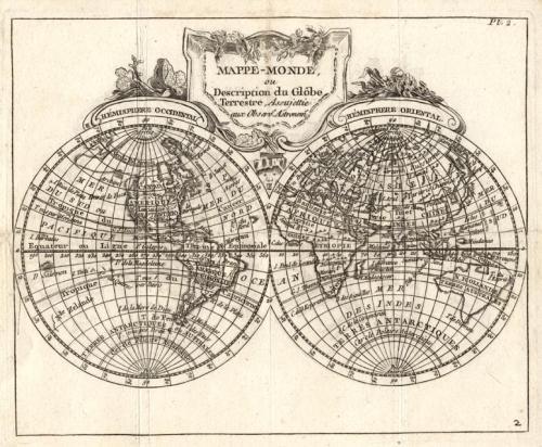 SOLD Mappe Monde, ou description du globe terrestre, assujettie aux observs. astronoms.
