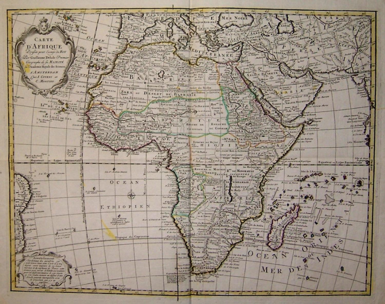 SOLD Carte D'Afrique. Dressée pour l'usage du Roy.