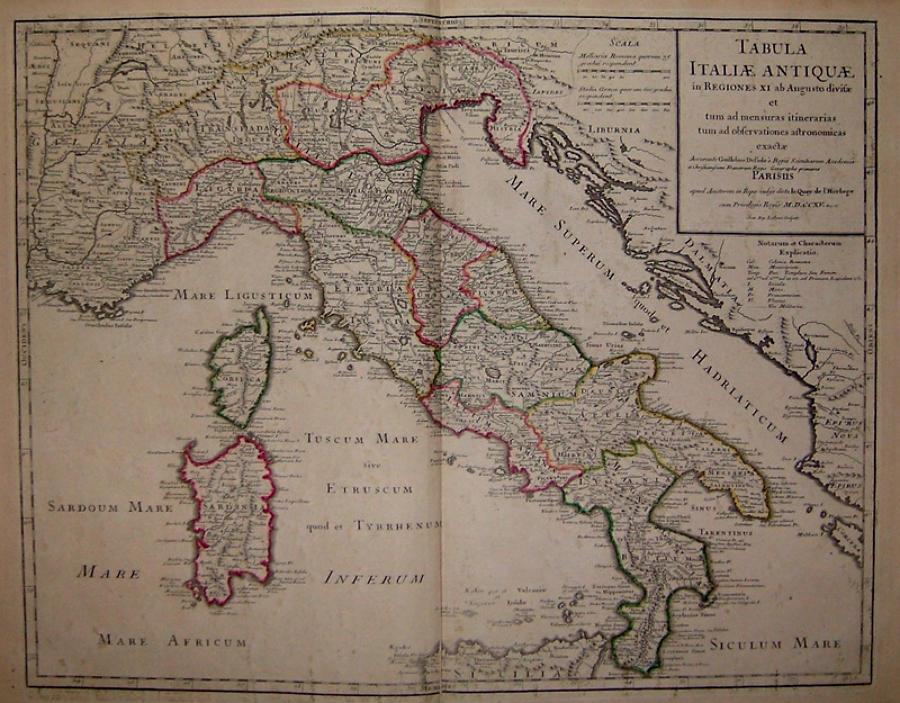De L' Isle - Tabula Italiae Antiquae