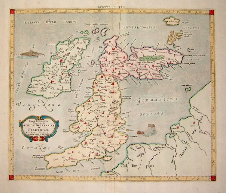SOLD TAB I EUROPAE, Continens ALBION, BRITANNIAM et HIBERNIAM