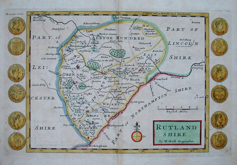RUTLANDSHIRE by H Moll Geographer