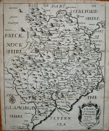 Blome - A Map of ye County of Monmouth