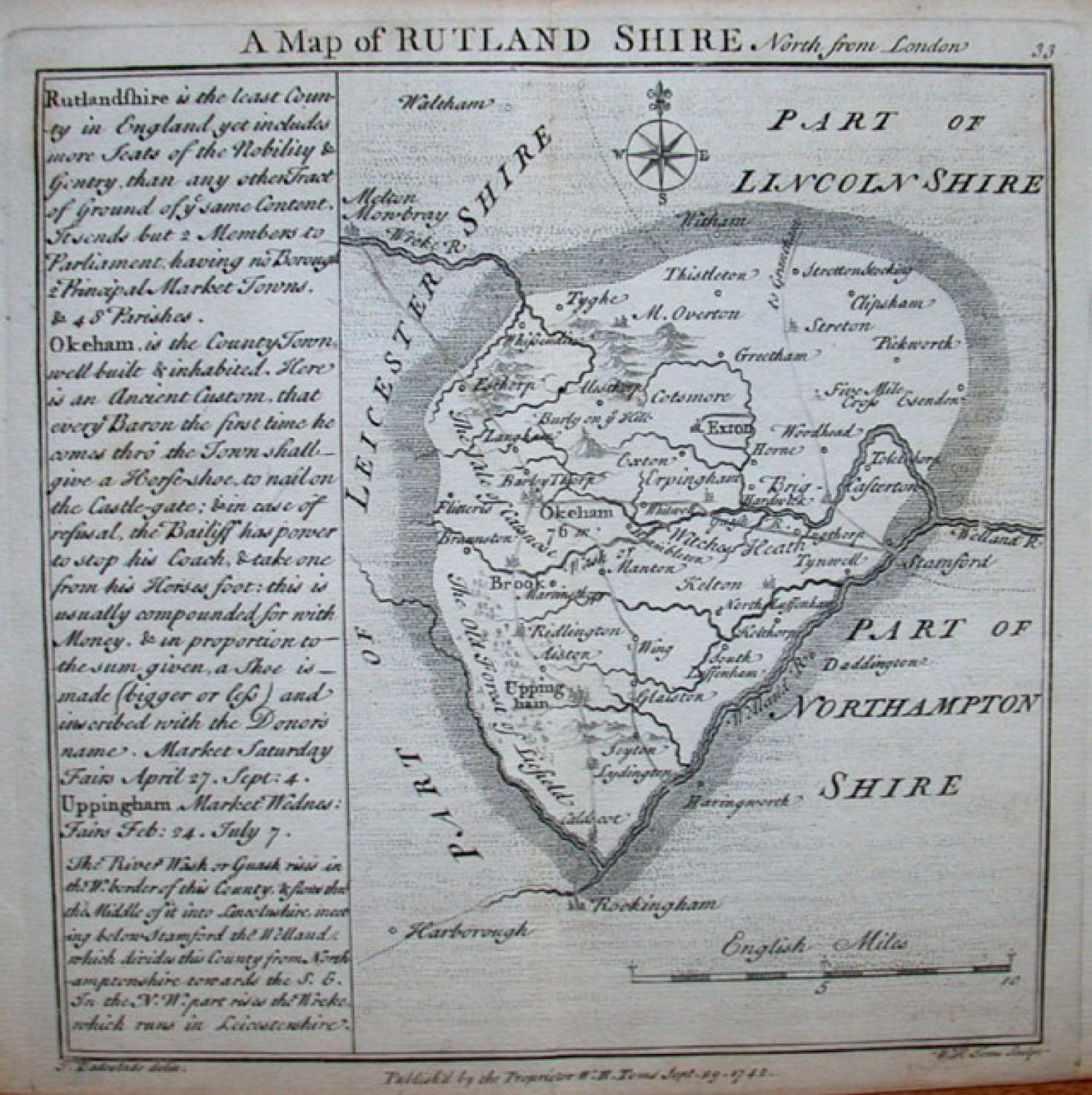 SOLD A Map of Rutland Shire north from London