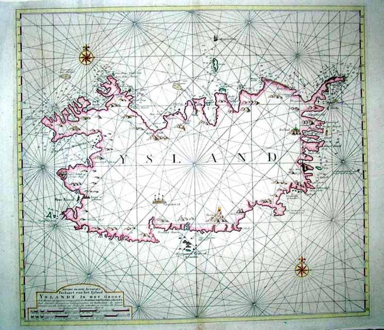 SOLD Nieuwe en seer Accurate Paskaart van het Eyland Yslandt In het Groot