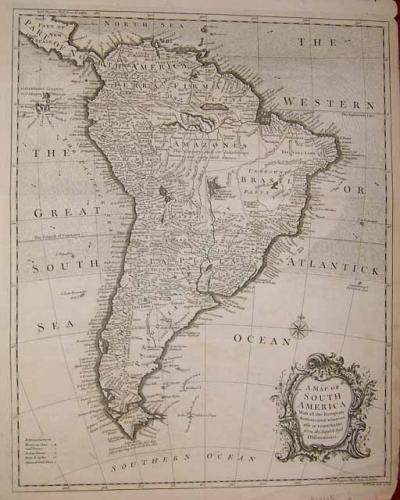 SOLD A Map of SOUTH AMERICA. With all the European Settlements
