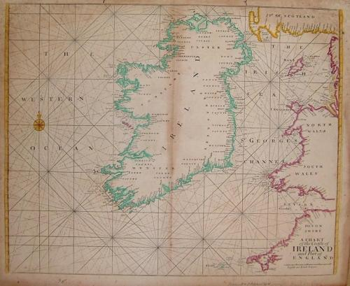 SOLD A Chart of the Coasts of Ireland and Part of England