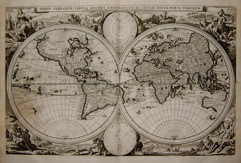 SOLD Orbis Terrarum Tabula Recens Emendata et in Lucem Edita Per. N. Visscher