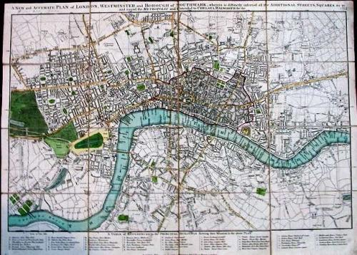 SOLD A New and accurate Plan of London, Westminster and Borough of Southwark ...