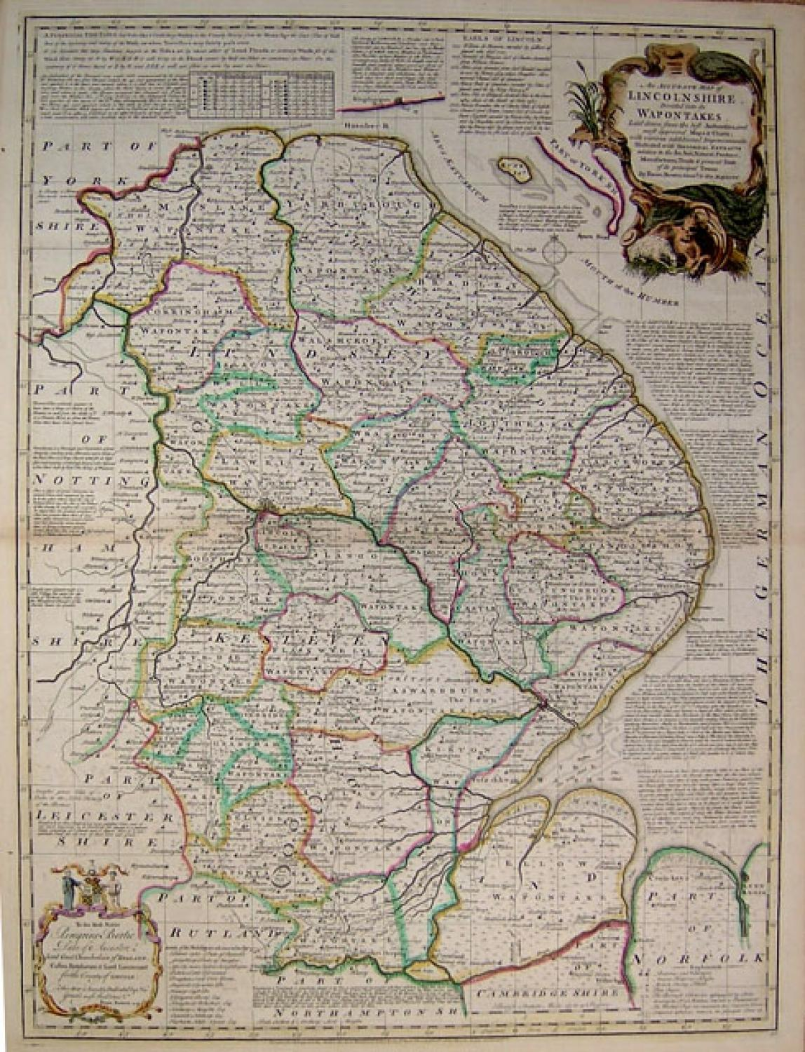 Bowen An Accurate Map of Lincolnshire in English Counties