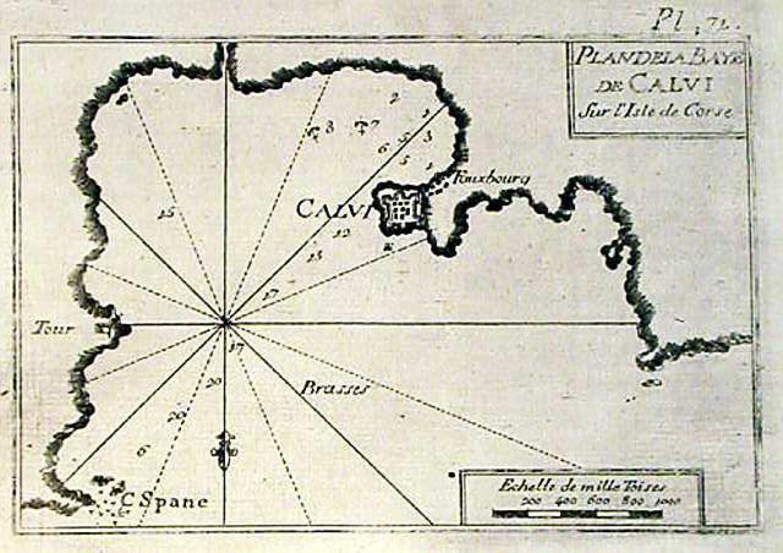 SOLD Plan dela Baye de Calvi sur l'isle de Corse